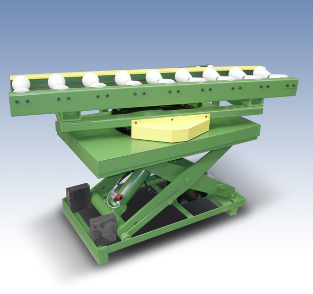 Lifting table with turning roller conveyor